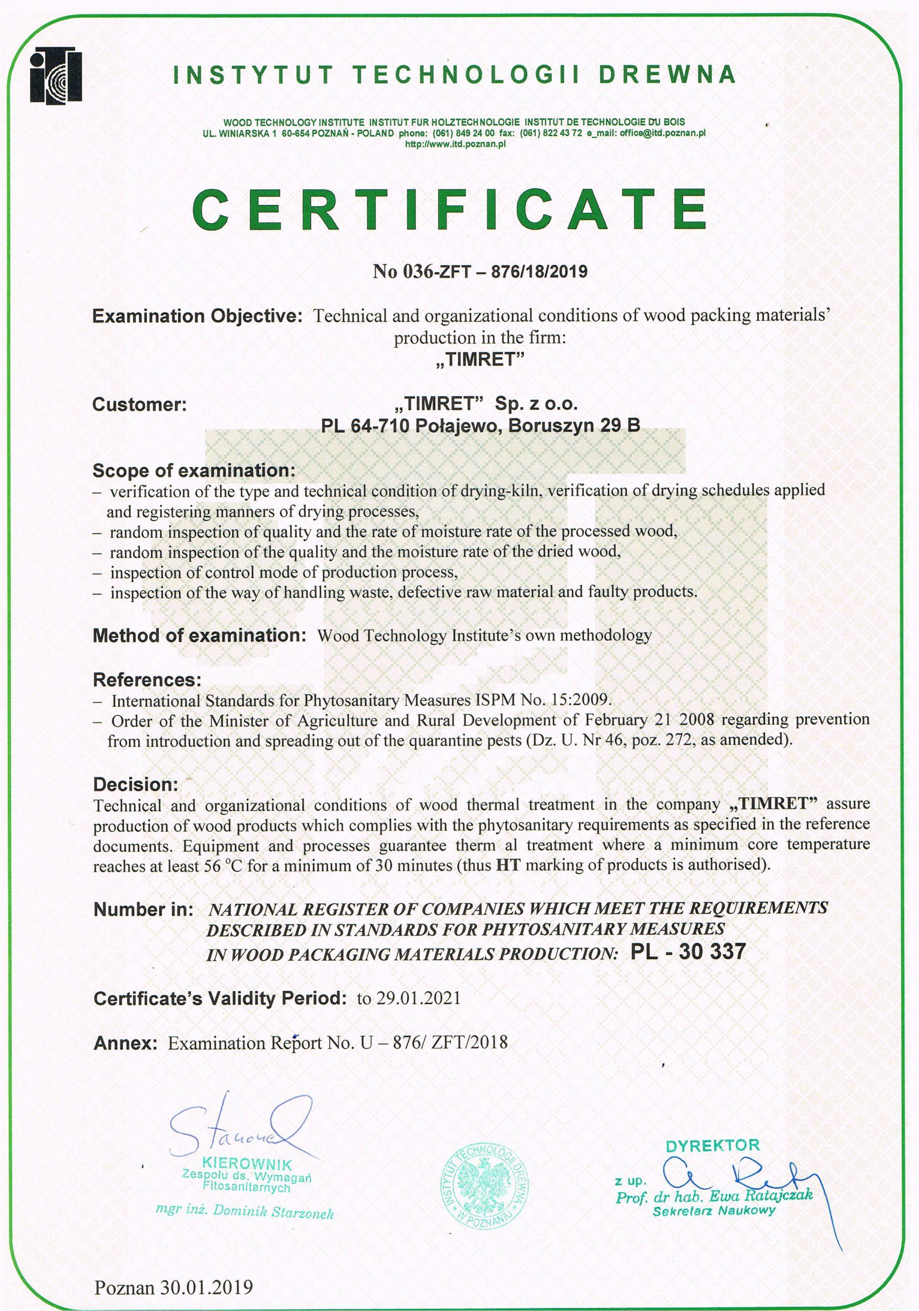 certyfikat firmy Timret Sp. z o.o.
