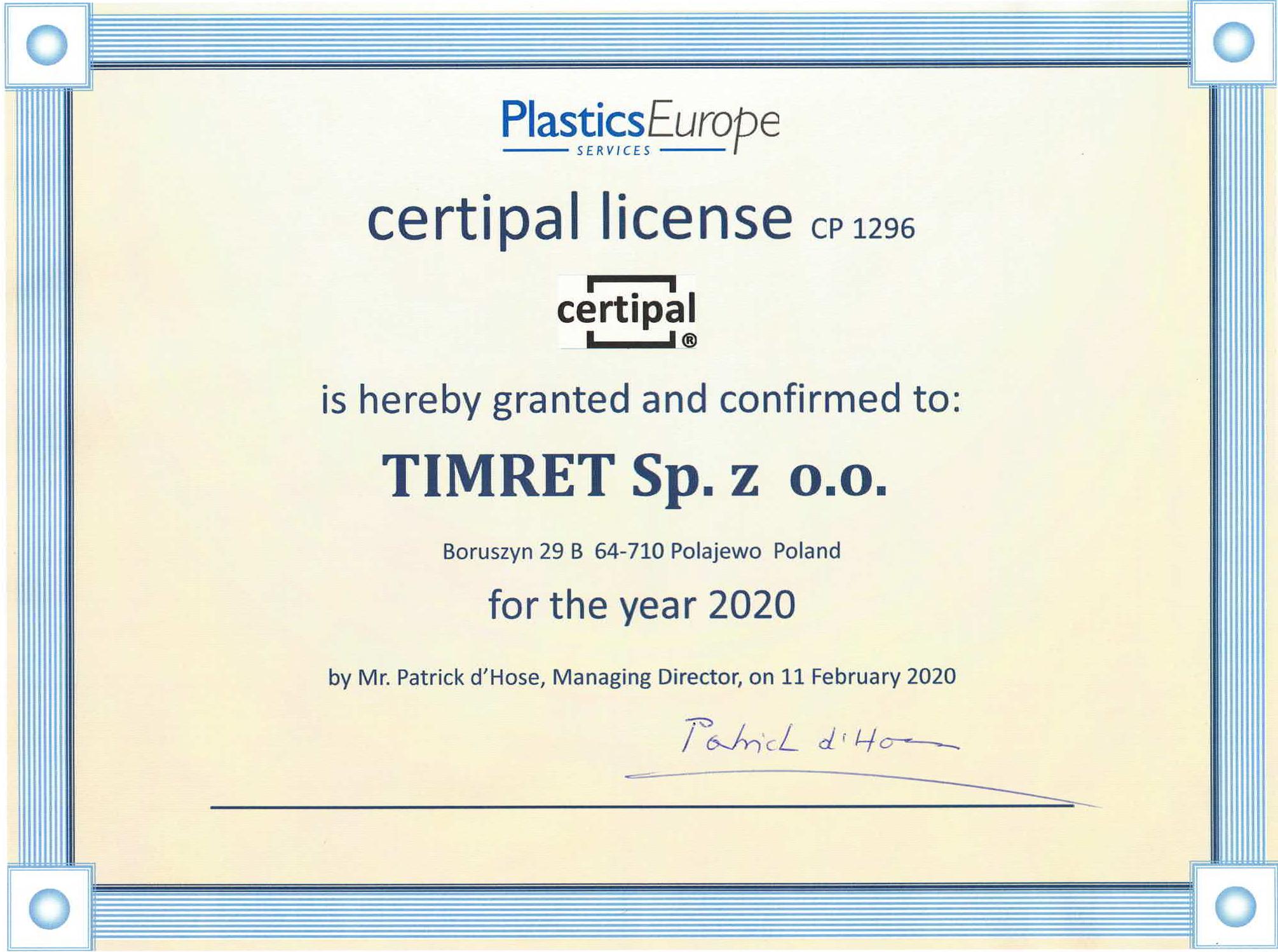 dyplom firmy Timret